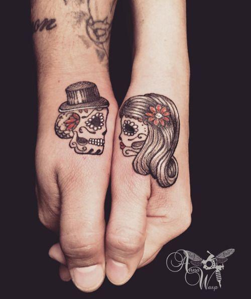 sugar-skull-couple-halloween-tattoo