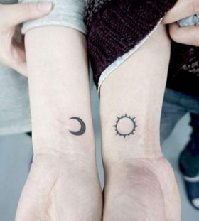 sun and moon couples tattoos