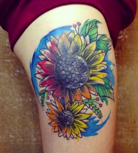 sunflower flower tattoo design