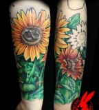 Painful Sunflower Tattoo Design on Arm