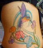 Hummingbird Tattoos Design on Rib for Women