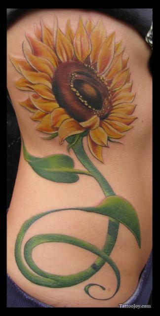 Beautiful Sunflower Tattoo Design on Rib for Girls