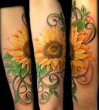 Pretty Sunflower Tattoo Design