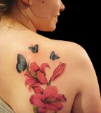 Beautiful Sunflower and Butterfly Tattoo Design for Women