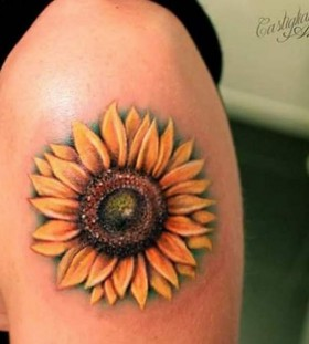 sunflower upper arm tattoo