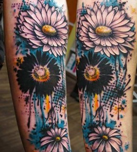 sunflower watercolor flower tattoo