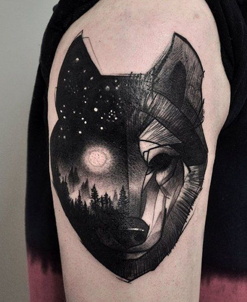 surreal-wolf-tattoo