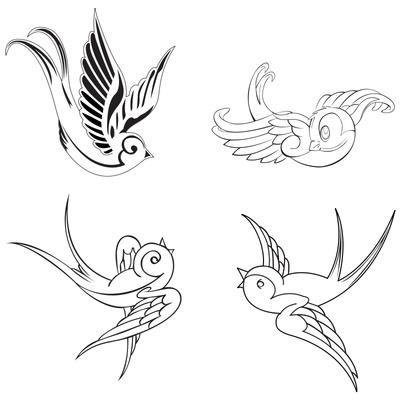 Gorgeous Swallow Birds Tattoo Design