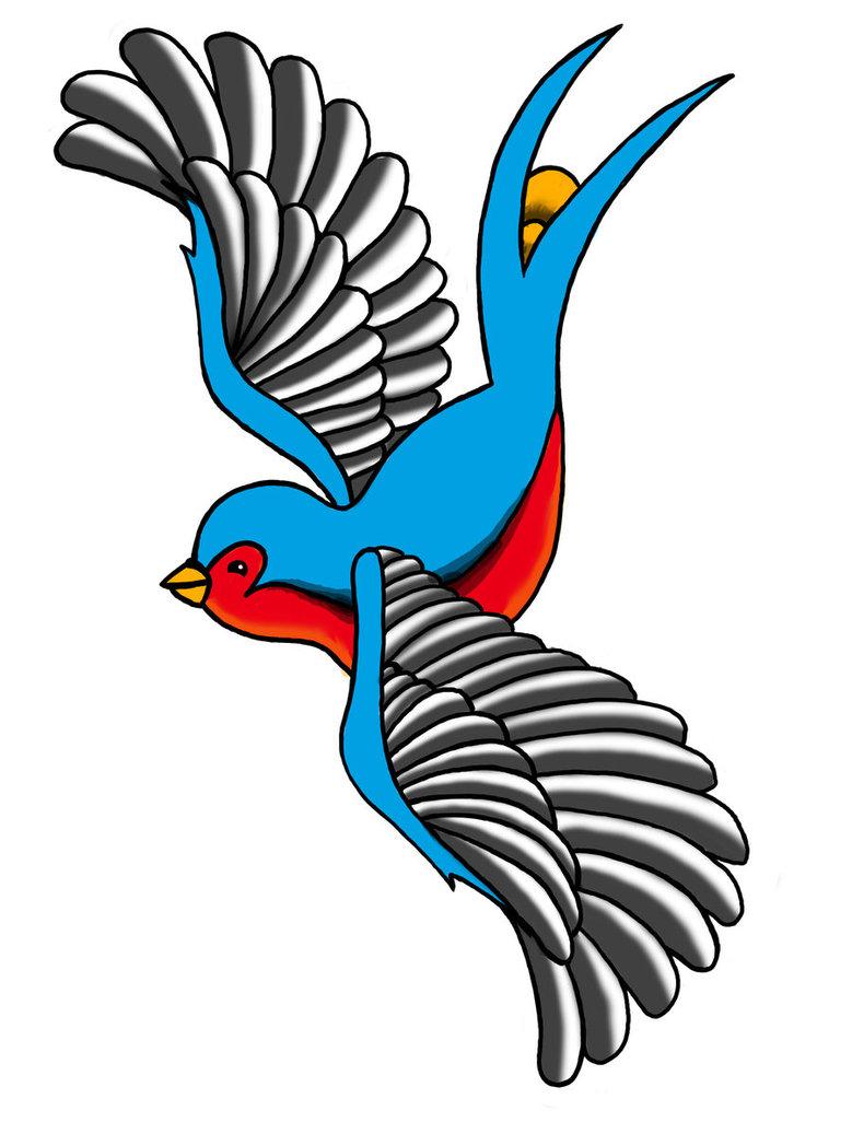 Grey Marvelous Wings Swallow Tattoo Design