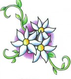 Cool Colorful Sweet Pea Flowers Tattoo Design