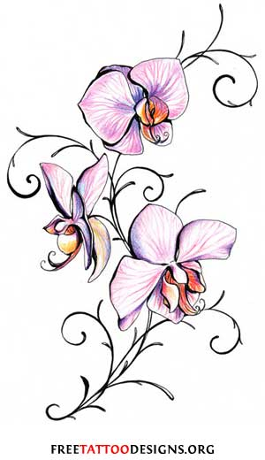 Cool Sweet Pea Flower Design for Tattoo