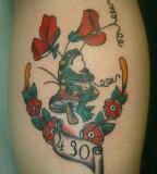 Funny Colorful Frog Sweet Pea Flower Tattoo