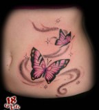 Beautiful Purple Butterfly Swirl Tattoo for Girls