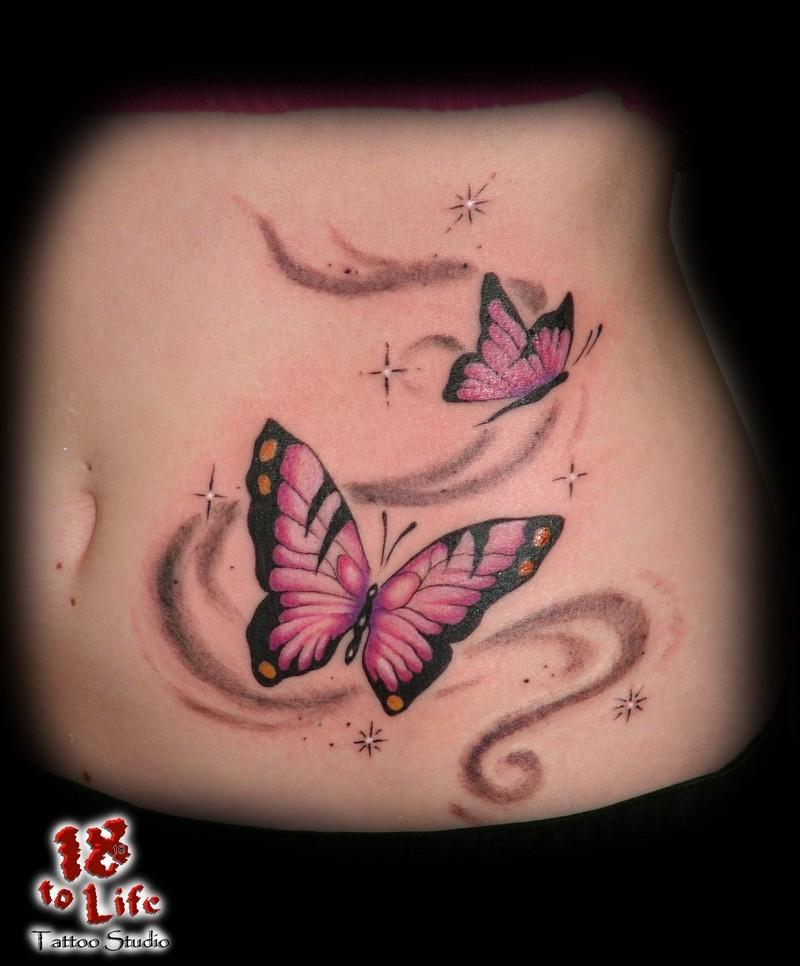 f24a078fe5356 Beautiful Purple Butterfly Swirl Tattoo for Girls - | TattooMagz ...