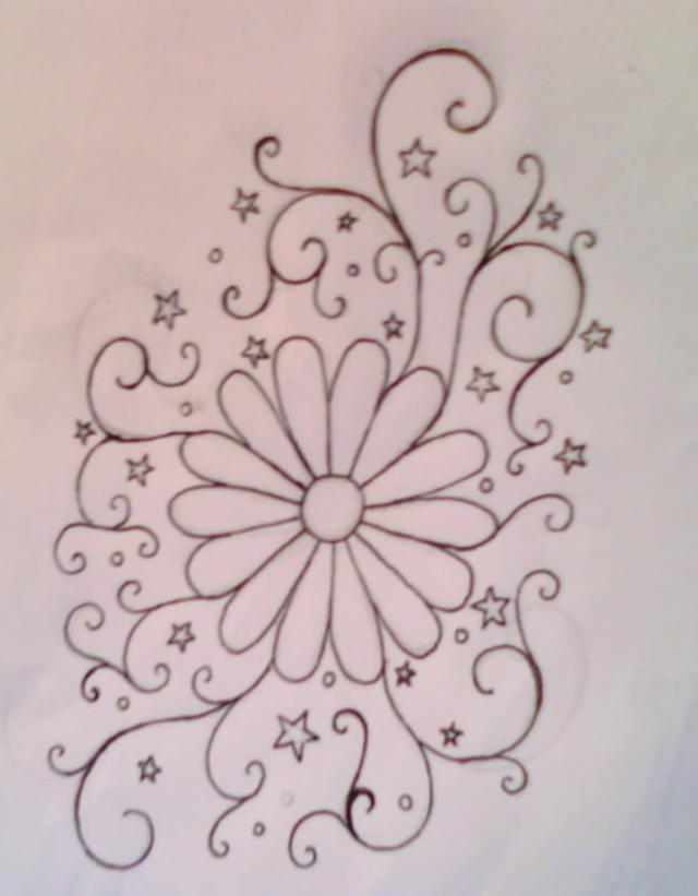 Daisy Swirl with Stars Tattoo Design