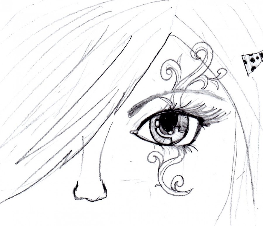 Sketch: Girl with a Cool Swirl Tattoo on Eyes