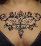 Gorgeous Women Chest Swirly Flower Tattoo Design