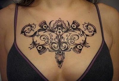 Gorgeous Womens Tattoos Gorgeous Women Chest Swirly