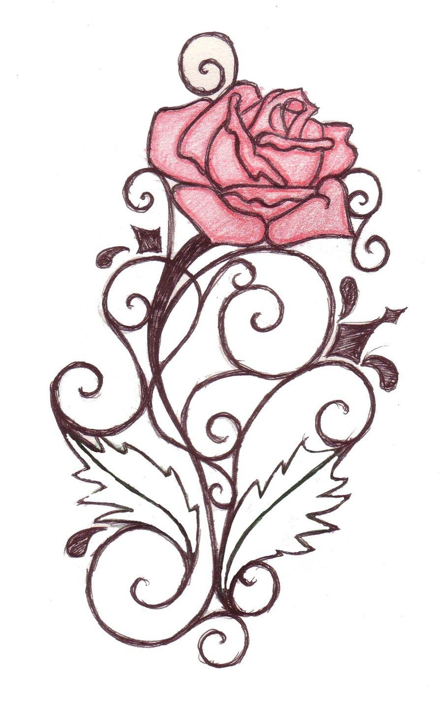 Rose Swirl Tattoo Sketch