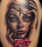 Remarkable Swirly Cross Tattooed Girl Face with Red Rose Tattoo Design