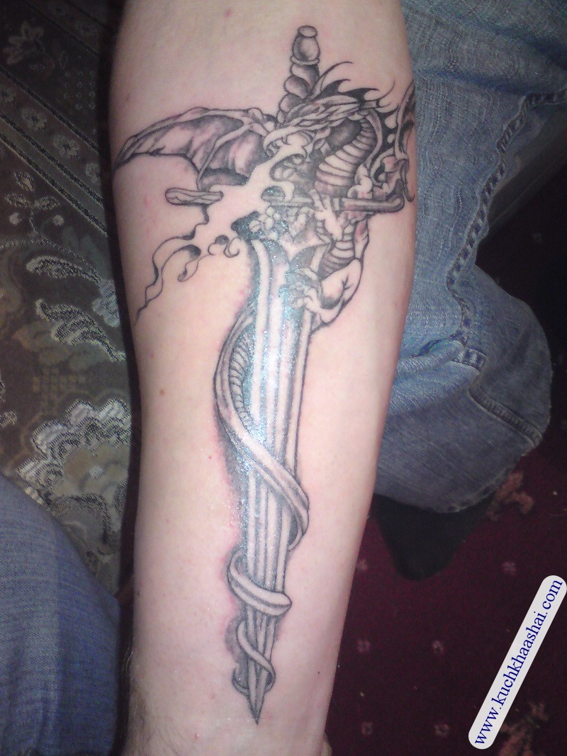 Awesome Sword Tattoo Design for Arm Men Inspiration