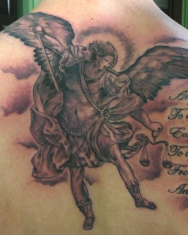 Fascinating Angel Tattoo With Sword