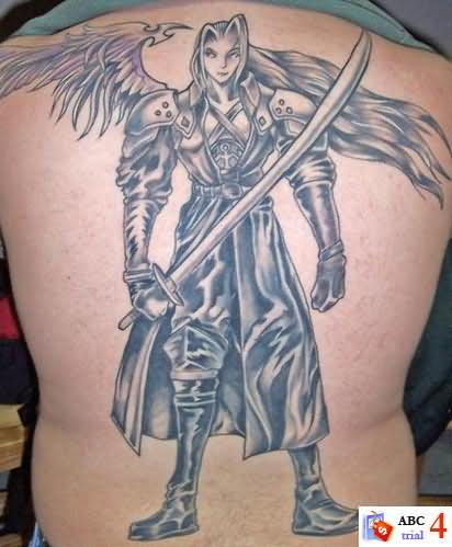Terrific Angel With Sword Tattoos For Men