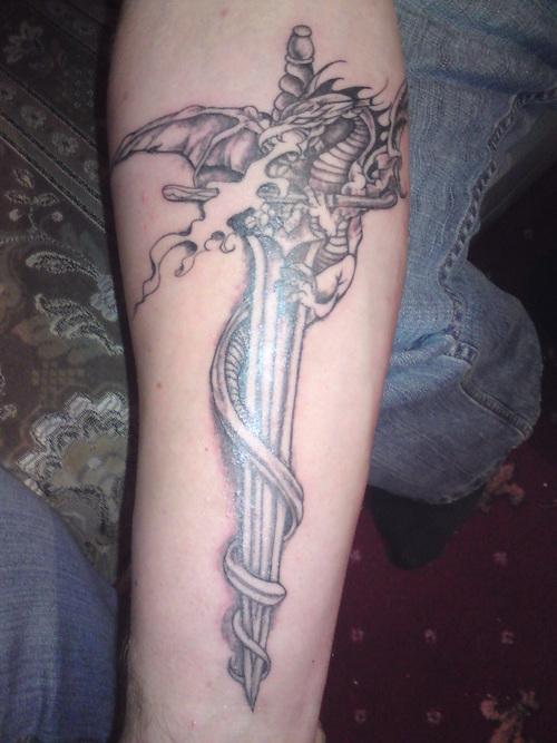 Dragon and Dagger Tattoo Design