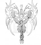 Dragon Sword Tattoo Design Sketch By Biomek