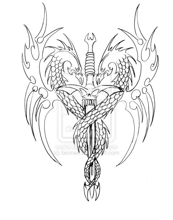 Dragon Sword Tattoo Design Sketch By Biomek
