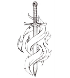 Sword Tattoo Design Sketch for Women