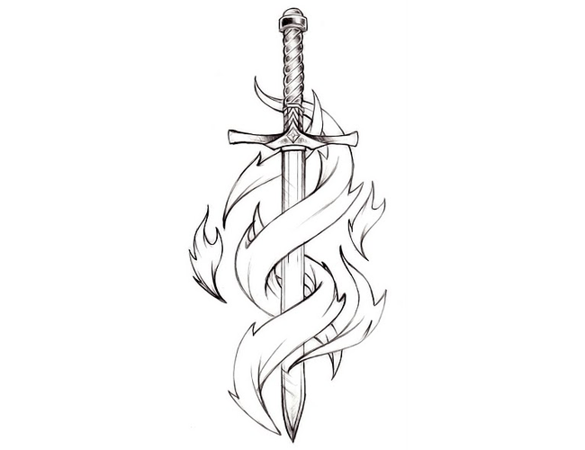 Tattoo Drawings On Paper Small: Sword Tattoo Design Sketch For Women -