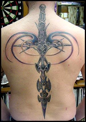 Tribal Dragon Sword Tattoo Design Idea
