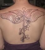 Nurse Symbol Tattoo On Back for Women