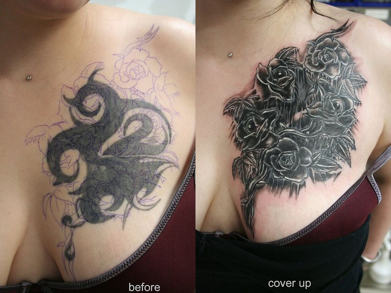 Black Roses Cover Up Tattoos