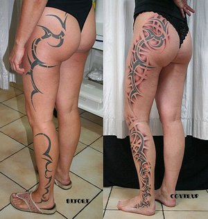 Tribalism Cover Up Tattoo Ideas For Womens (NSFW)