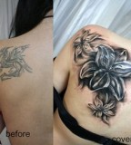 Girl Upper Back Cover Up Tattoos Design