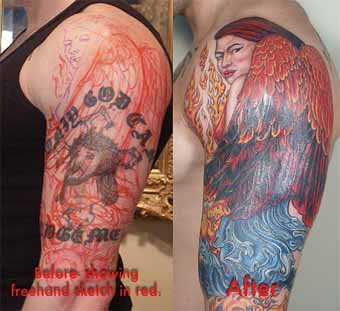 Burning Angel Cover Up Tattoo Designs