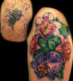 Colorful Flower Tattoo Cover Up