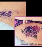 Various Flowers Color Cover Up Tattoo Ideas