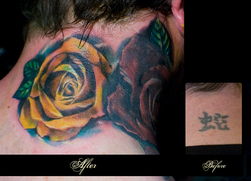 Great Flowers On The Neck Tattoo Cover Up Ideas - | TattooMagz ...