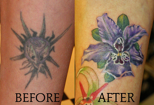 Purple Flower Cover Up Tattoos