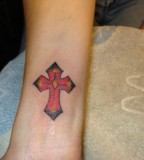 Awesome Cross Wrist Tattoo Design For Girls