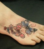 Beautiful Butterfly Shaped Tattoo Design on Foot for Girls
