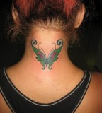 Cute Green Butterfly Tattoo Design for Girls