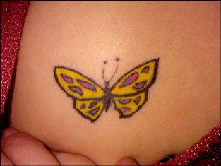 Small Yellow Butterfly Tattoo Design for Women