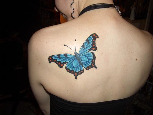 Beautiful Light Blue Butterfly Tattoo Design for Girls