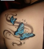 Light Blue Butterfly Shaped Tattoo Design for Girls