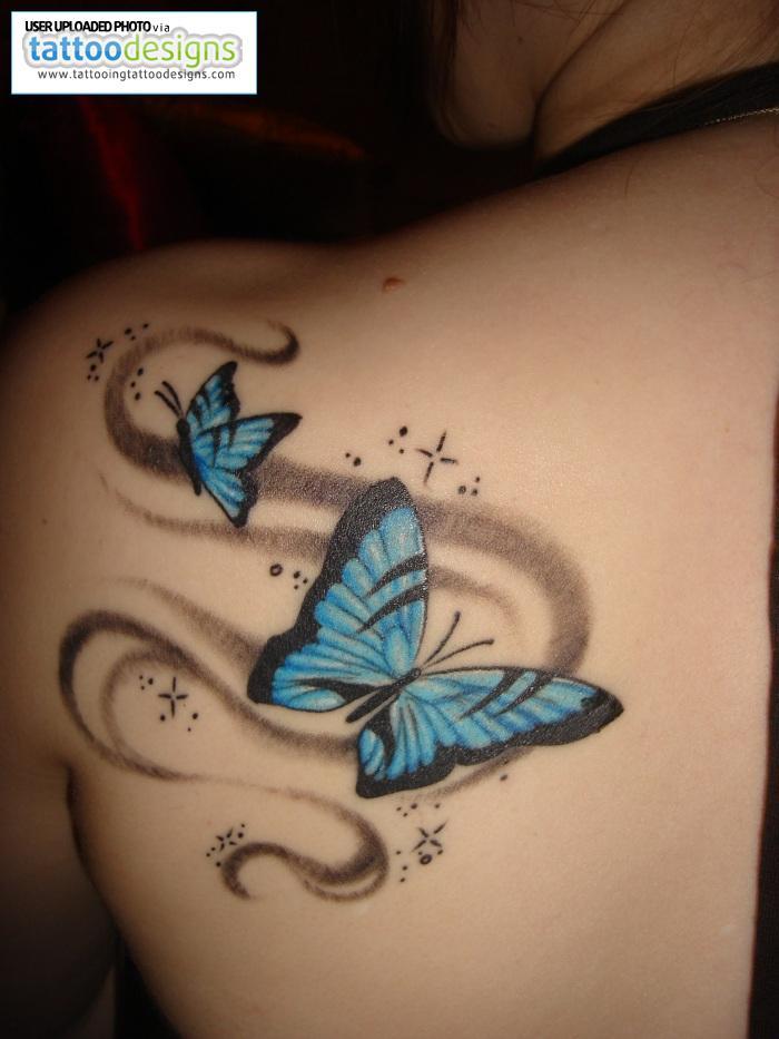 Light Blue Butterfly Shaped Tattoo Design for Girls