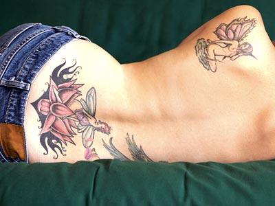 Full on Lower Back Tattoo Design for Girls